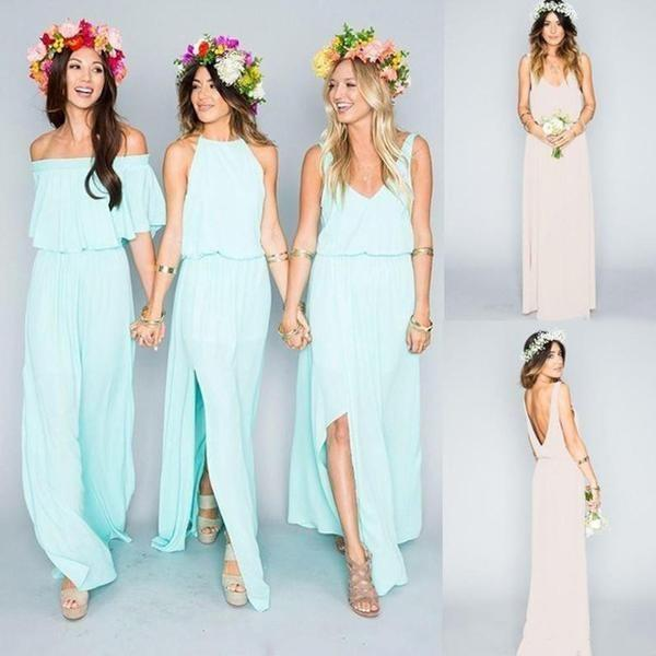 2020 Chiffon Cheap Long Pretty Young Mint Mismatched Side Split Bridesmaid Dresses WK317
