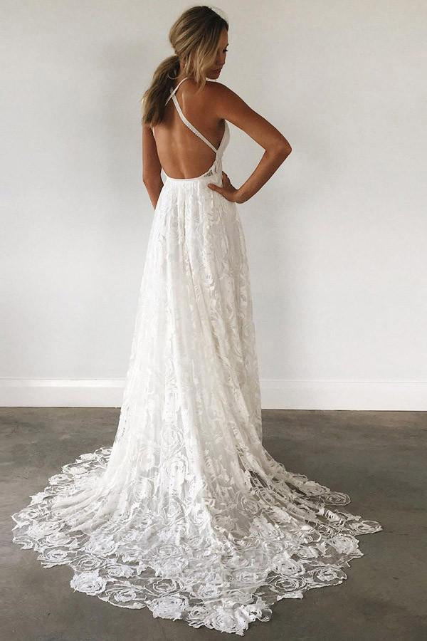 A-Line V-Neck Criss-Cross Straps Backless Court Train Lace Slit Beach Wedding Dress WK356