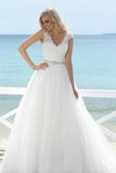 2020 Simple White V-Neck Sleeveless Tulle Lace Beads Floor-Length Wedding Dress WK752