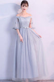 Off the Shoulder Blue Short Sleeve Tulle Bridesmaid Dresses Floor Length Wedding Party Dress WK917