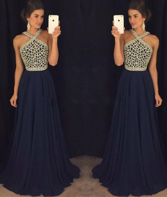 Elegant A Line Halter Dark Blue Beaded Long Chiffon Backless Long Prom Dresses WK810