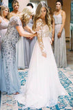 A Line Long Sleeve Deep V Neck Tulle Open Back Lace Appliques Wedding Dresses WK144