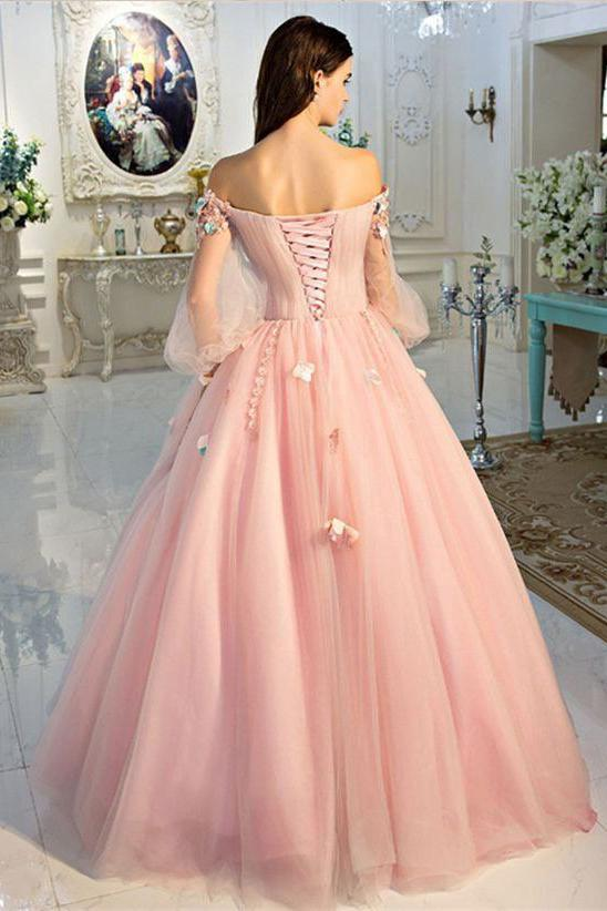 A Line Long Sleeve Pearl Pink Ball Gown Off the Shoulder Long Floral Fairy Prom Dresses WK261