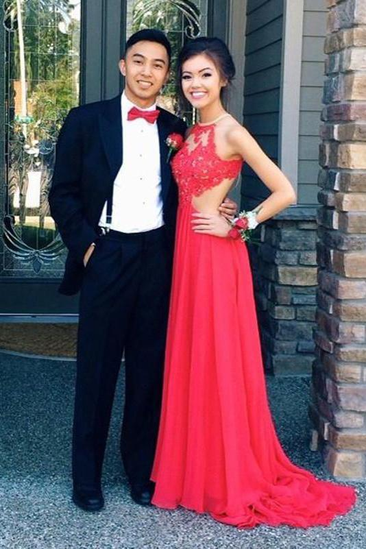 Elegant A Line Chiffon Open Back Halter Slit Red Long Cheap Prom Dresses WK58