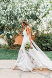 Simple Boho Spaghetti Straps Sweetheart Backless Chiffon Beach Wedding Dresses WK227