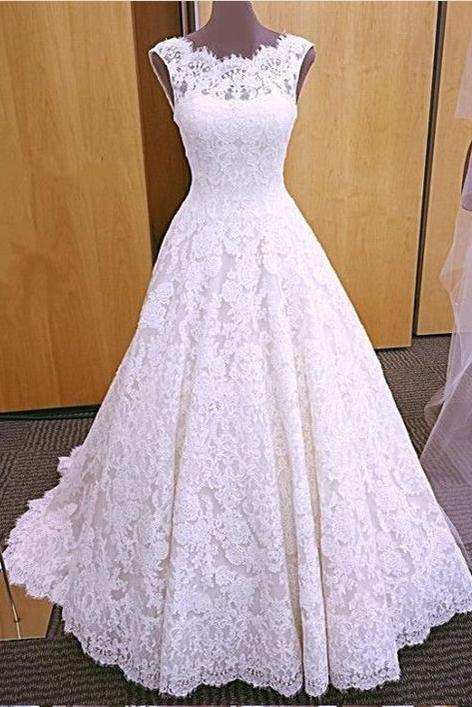 Chic Romantic Open Back A line Short Train Lace Ivory Long Wedding Dresses WK149