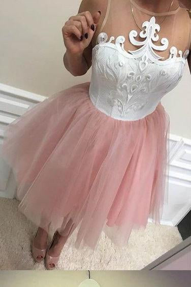 Blush Pink Homecoming Dresses Cheap Short Lace Homecoming Dress for teens WK110