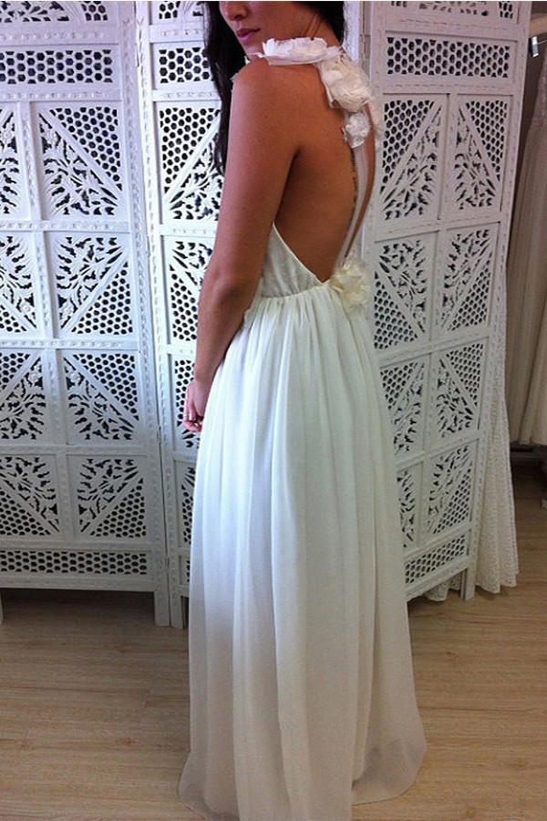 A-Line V-Neck Floor Length Backless Chiffon Tulle Wedding Dress with Handmade Flower WK640