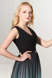 A-Line Ombre Long Chiffon Formal Dress V-Neck Black Sleeveless Lace up Prom Dresses WK371