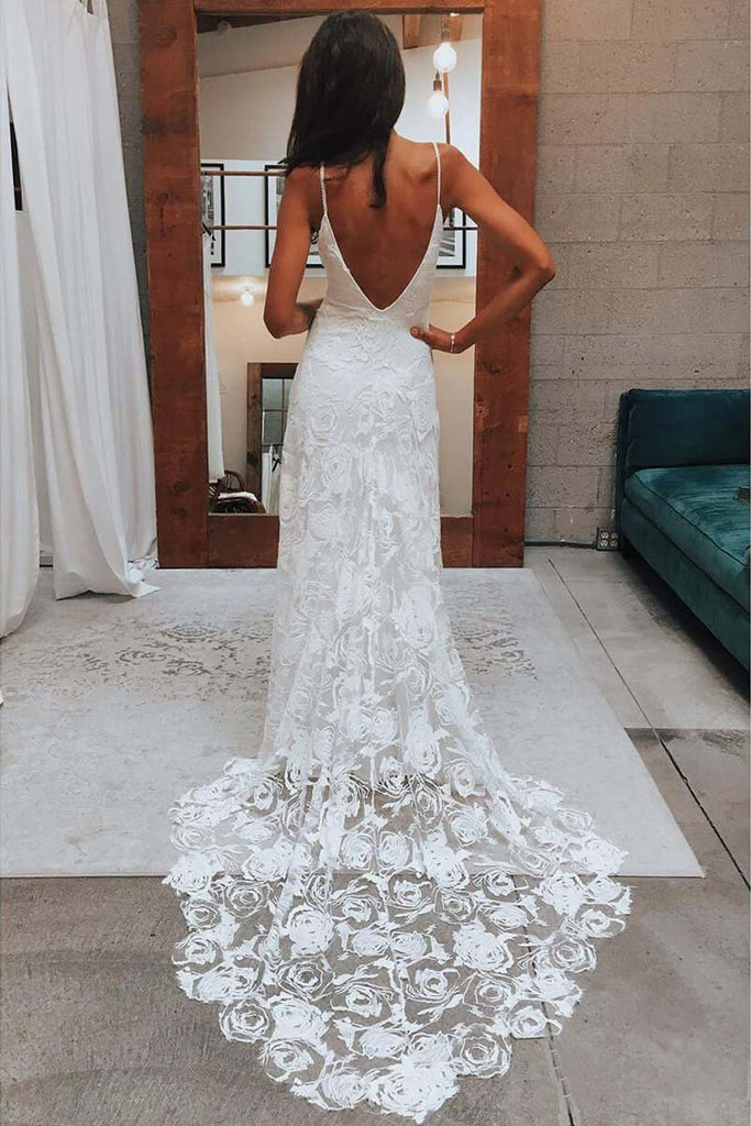 Rose Lace Sweetheart Boho Wedding Dresses Spaghetti Strap Beach Wedding Dresses WK381