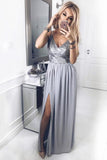 A-Line Spaghetti Straps V Neck Floor-Length Chiffon Grey Prom Dress with Sequins Split WK653