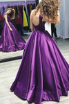Ball Gown V-Neck Sweep Train Satin Sleeveless Bateau Purple Backless Prom Dresses WK420