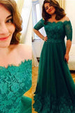 A-line Off-the-Shoulder Floor-Length Tulle with Appliques Lace Half Sleeve Prom Dresses WK623