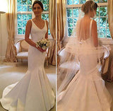 Deep V Neck Backless Vintage Mermaid Sleeveless Wedding Dresses Bridal Dresses WK329
