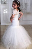 Long Short Sleeves Mermaid Lace Appliques Tulle Flower Girl Dress Wedding Party Dress WK119