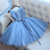 A Line V Neck Blue Tulle Cheap Beads Short Homecoming Dresses with Lace Appliques WK05