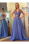 Elegant A Line Two Piece Blue V-Neck Beads Chiffon Evening Prom Dresses WK790