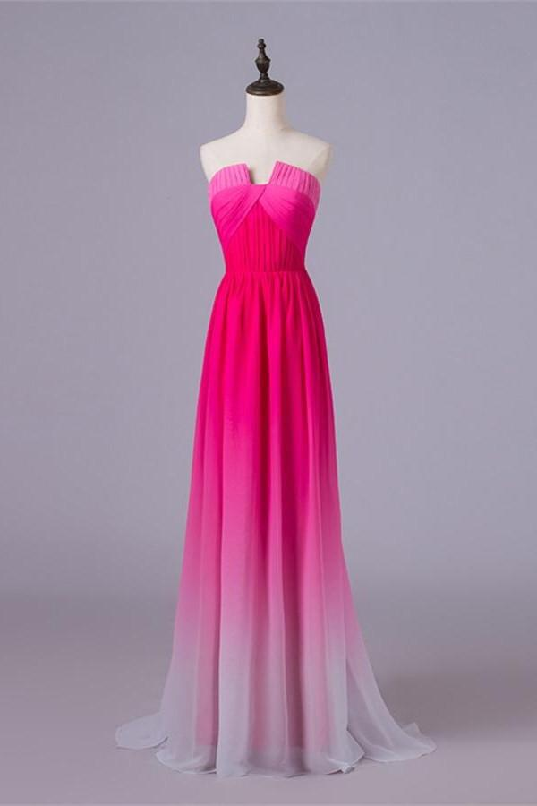 A-line Ombre Princess Long Cheap Gradient Chiffon Strapless Hot Pink Prom Dresses WK342