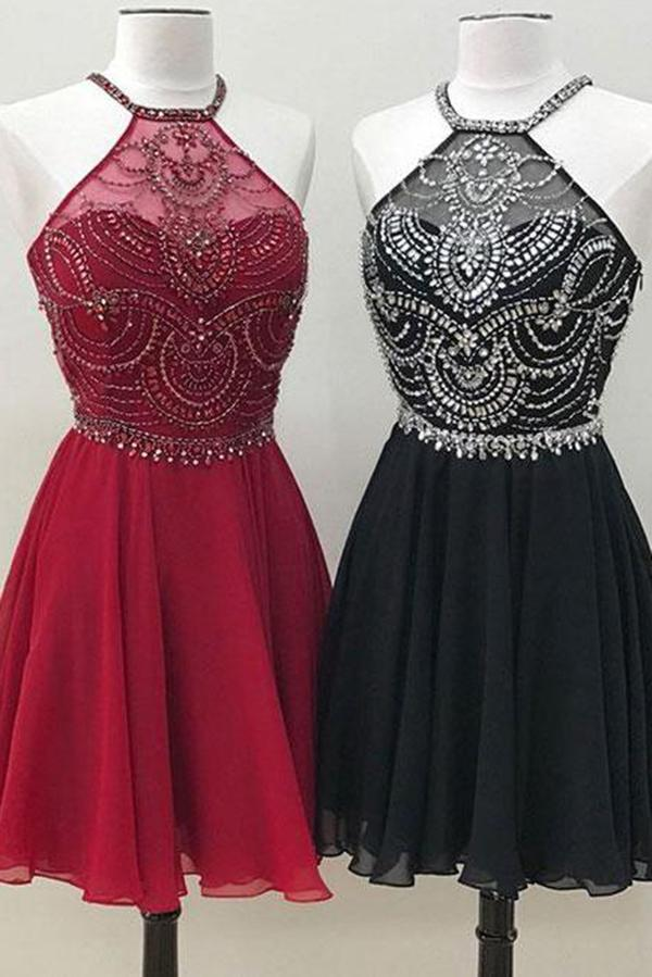 Cute A Line Halter Beaded Short Burgundy Homecoming Dresses Backless Black Hoco Dress WK731