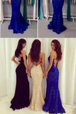 Black Prom Dresses Mermaid Prom Dress Lace Prom Dress Backless Evening Gowns WK967