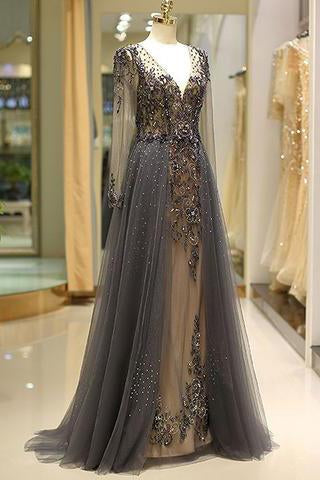 Elegant A Line V Neck Long Sleeves Tulle Grey Prom Dresses with Beading WK85