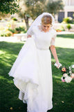 A Line Half Sleeve Ivory Lace with Satin Round Neck Beads Button Cheap Wedding Dresses WK146