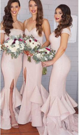 2020 Sexy Mermaid Ruffles Front Split Off-the-shoulder Sleeveless Bridesmaid Dress WK329