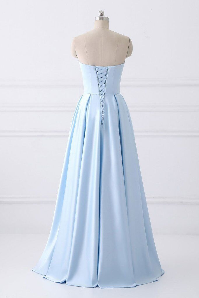A-Line Blue Simple Satin Strapless Beaded Pockets Lace Up Back Long Sleeveless Prom Dresses WK309