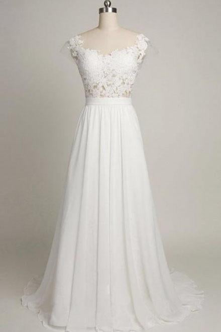 Back V Cap Sleeve Lace Cheap Chiffon High Quality Beach A-line Ivory Wedding Dresses WK227