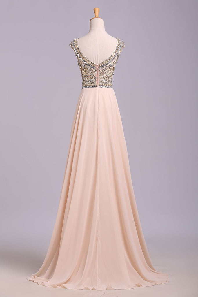 Blush Pink Cap Sleeve Chiffon Beads Round Neck Open Back Long Prom Dresses WK174
