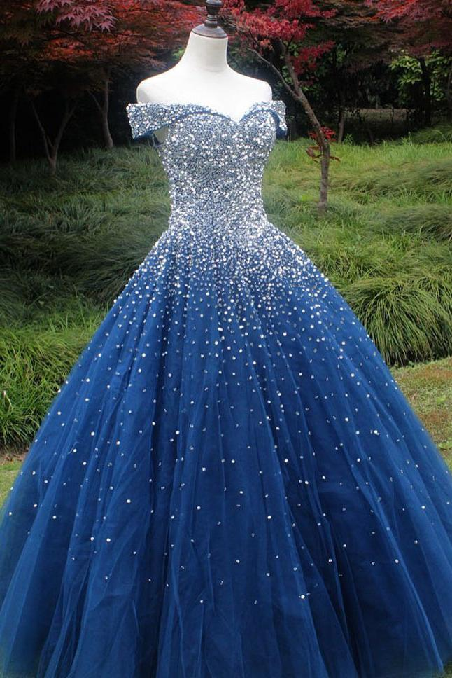 Sparkle Off the Shoulder Blue Ball Gown Prom Dresses Puffy Tulle Quinceanera Dresses WK239