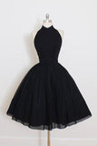 Black Chiffon Prom Dress Halter Homecoming Dress Short Prom Dresses WK325