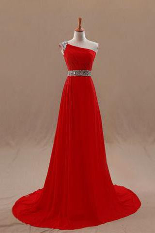 Classy One Shoulder Party Dresses Chiffon Party Dresses Sleeveless Long Party Dresses WK552