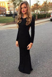 New Style Black Elegant Mermaid Simple Scoop Prom Dresses with Long Sleeves For Teens WK28