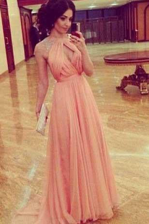 Cheap A line Sleeveless High Neck Open Back Cap Sleeve Chiffon Coral Prom Dresses WK827