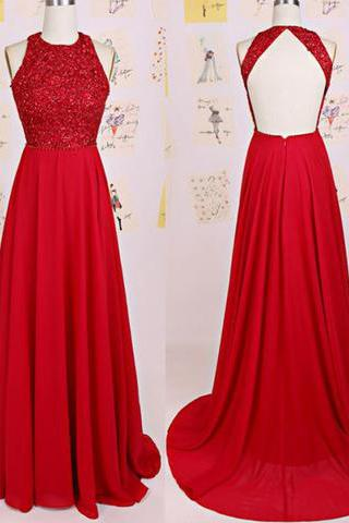 Charming O-Neck Beading A-Line Red Floor-Length Chiffon Backless Prom Dresses WK129