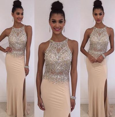 Champagne Halter Mermaid Elegant Beads Jewelry Hot Slit Prom Dresses WK164
