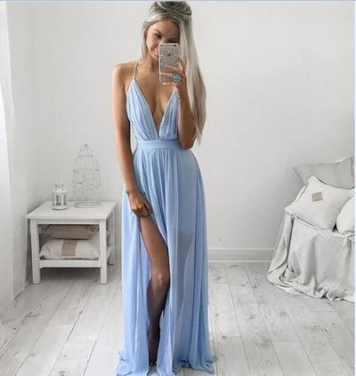 Charming Spaghetti Straps Mint Green Chiffon Prom Gowns with Slit Sexy Woman Dress WK844
