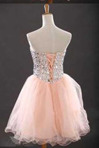 Sweetheart Beading Tulle Sleeveless Short Cocktail Dress Charming Homecoming Dresses XT278