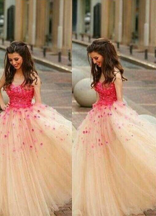 Cinderella Appliques Ball Gown Tulle Prom Dress Wedding Dresses