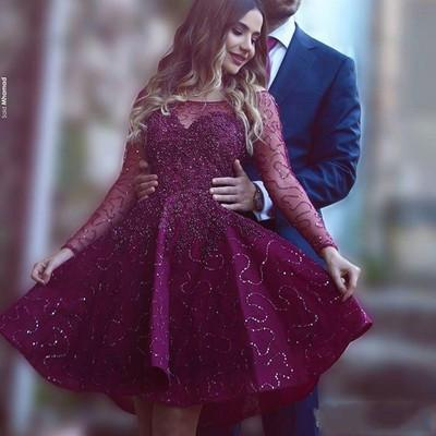 Wine Red Prom Dresses Beading Prom Gowns Cute Party Dress Short Prom Dress WK619