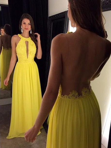 Yellow Elegant Long Beaded Chiffon Pageant Backless Prom Dresses