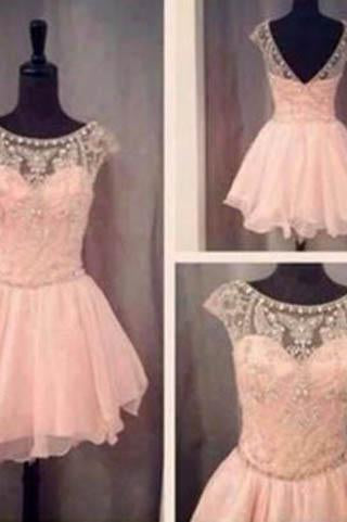 Blush Pink Short Prom Gown Sweet 16 Dress Homecoming Dresses WK900