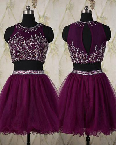 Two Piece Silver Beading Homecoming Gowns Short Sweet 16 Dress Homecoming Dress WK912