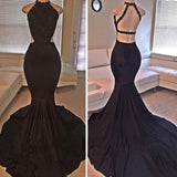 Black Mermaid Lace Halter Mermaid Backless Sleeveless Party Dress Lace Prom Gown For Teens WK70