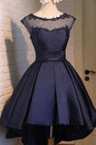 Navy blue Satin Classy Sexy Party Dress Charming Graduation Dress Homecoming Dresses H150