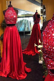 Burgundy Two Piece Beading Halter Open Back Carpet Long With Slit Prom Dresses WK152