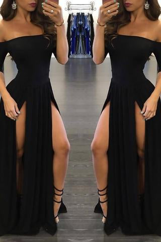 Sexy Black Long Off-the-Shoulder A-Line Half Sleeve Scoop Sexy Slit Prom Dresses WK790