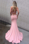 Decent Round Neck Keyhole Sweep Train Pink Mermaid Prom Dress with Appliques WK779