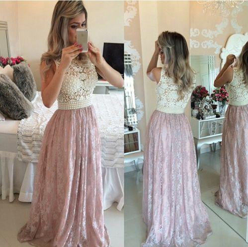 2020 Pink Prom Gowns Lace Evening Dresses Beading Long Beautiful Pink Formal Dress WK754